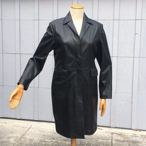 Black Alfani Leather Trench Coat, EUC